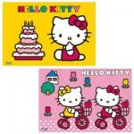 Puzzle 2 x 12 pièces : Hello Kitty fête son anniversaire