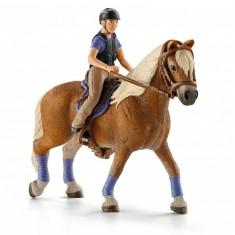 Figurine cavalière amatrice avec cheval