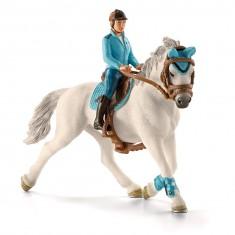 Figurine cavalière de compétition avec cheval