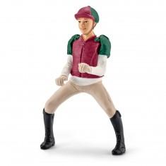 Figurine cavalière de concours magenta