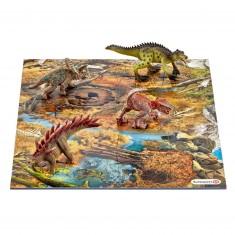 Figurine dinosaure : Mini dinosaures avec puzzle marécage