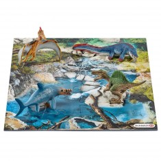 Figurine dinosaure : Mini dinosaures avec puzzle point d'eau