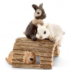 Figurine lapin : Jeunes lapins jouant