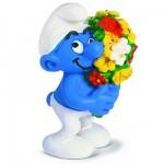 Figurine Schtroumpf au bouquet de fleur