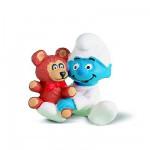 Figurine Schtroumpf: Bébé avec l'ours Teddy