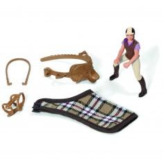 Set équitation : Figurine cavalière et accessoires