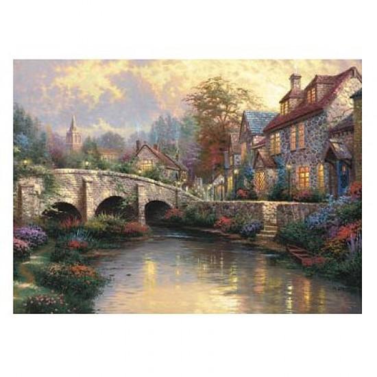 Puzzle 1000 pièces - Thomas Kinkade : Le pont pavé - Schmidt-57466