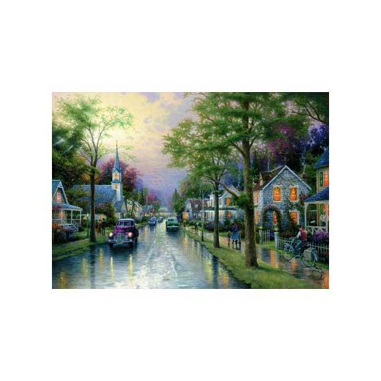 Puzzle 1000 pièces - Thomas Kinkade : Le réveil du village - Schmidt-58441