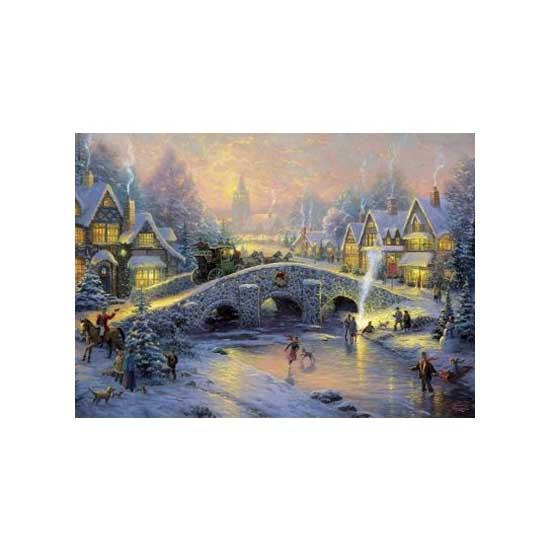 Puzzle 1000 pièces - Thomas Kinkade : Village enneigé - Schmidt-58450