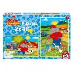 Puzzle 2 x 48 pièces - Benjamin Blümchen : Ferme