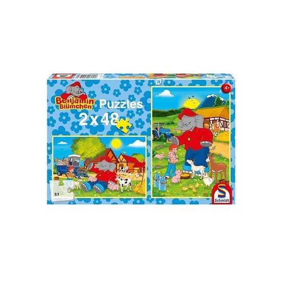 Puzzle 2 x 48 pièces - Benjamin Blümchen : Ferme - Schmidt-55108