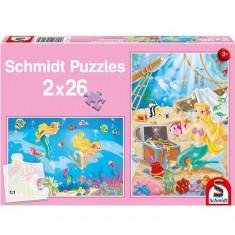 Puzzle 2 x 26 pièces : La petite sirène