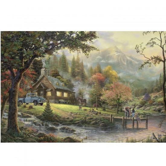 Puzzle 500 pièces Thomas Kinkade : Au bord de l'eau - Schmidt-58465