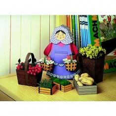 Maquette en carton : Femme avec ses paniers