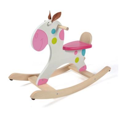 Cheval bascule en bois points jeux et jouets scratch europe avenue des - Cheval a bascule en bois blanc ...