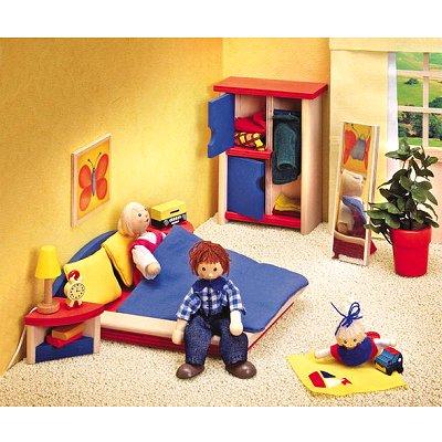 Chambre coucher en bois ronda selecta le lutin rouge for Chambre a coucher en bois rouge