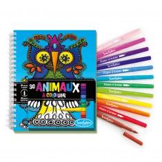 Carnet de coloriage et feutres : Animaux