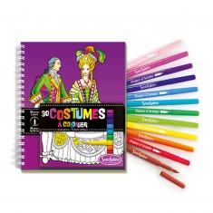 Carnet de coloriage et feutres : Costumes