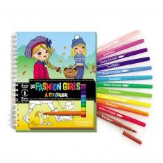 Carnet de coloriage et feutres : Fashion Girls