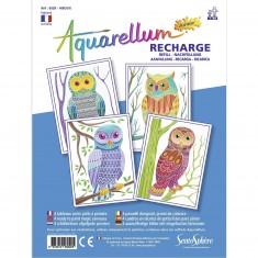 Recharge Aquarellum Junior : Hiboux