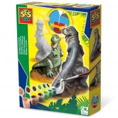 Moulage en plâtre et peinture : Dinosaure T-Rex