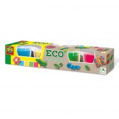 Pâte à modeler Eco :  4 pots de couleurs primaire