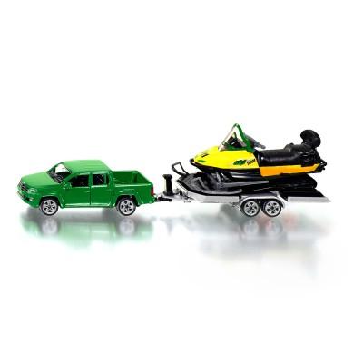 mod le r duit en m tal voiture avec remorque et motoneige jeux et jouets siku avenue des jeux. Black Bedroom Furniture Sets. Home Design Ideas