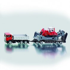 Modèle réduit en métal : Camion avec remorque et excavateur