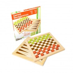Dames et backgammon : Jeu en bambou