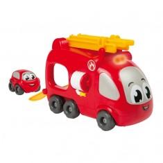 Camion de pompiers Vroom Planet avec mini bolide