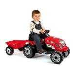 Tracteur à pédales Grand modèle rouge avec remorque