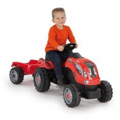 Tracteur Farmer XL rouge avec remorque