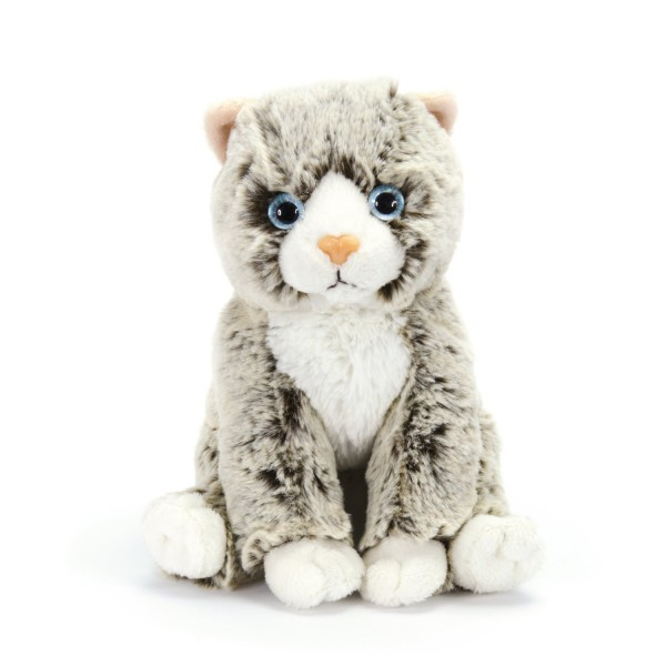 Peluche Chaton 22 cm assis : Gris chiné - Softfriends-SA4699-3