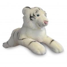 Peluche tigre allongé 60 cm : Blanc