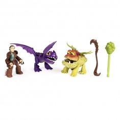 Figurine Dragons : Dragon et son dresseur : Valka et deux bébés dragons