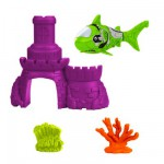 Jouet pour le bain : Robo fish avec château : Requin vert et château violet