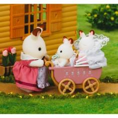 Sylvanian Family 2206 : Jumeaux lapin chocolat dans la poussette double