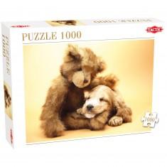 Puzzle 1000 pièces : Ours en peluche et chiot