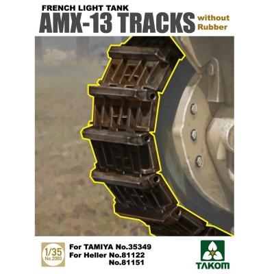 Accessoires militaires : Set de chenille sans patin en caoutchouc AMX-13 - Takom-TAKOM2060