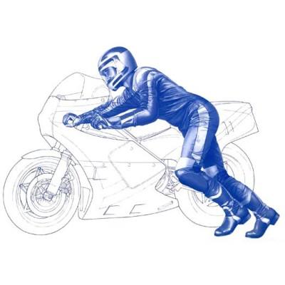 Figurine pilote moto GP Départ 1/12 - Tamiya-14124