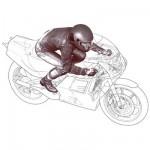 Figurine pilote moto ligne droite 1/12