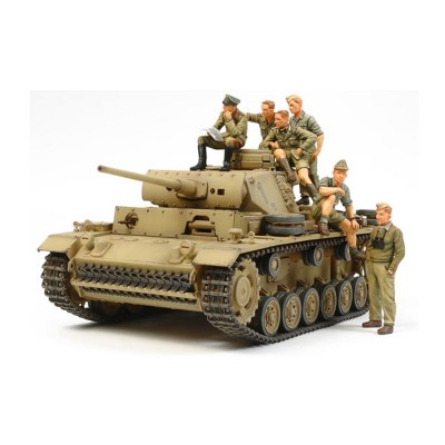 Maquette militaire : Char Panzer III DAK et son équipage - Tamiya-32405