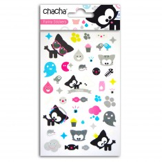 Funny Stickers : Chacha : 40 stickers glitter transparents