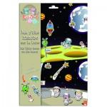 Stickers cosmonaute avec fonds : Ma p'tite histoire sur la Lune