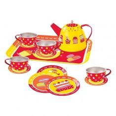 Service à thé en métal : 14 pièces