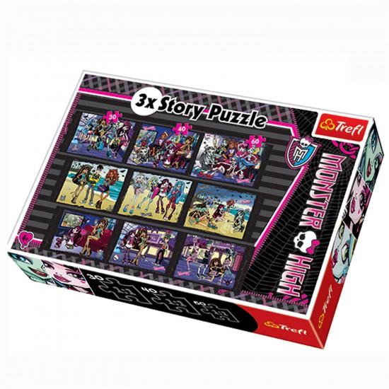 Puzzle 30 à 60 pièces : 3 puzzles Story : Monster High - Trefl-90308