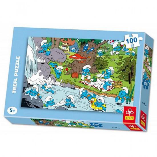 Puzzle 100 pièces - Les schtroumpfs : Au bord de la rivière - Trefl-16168