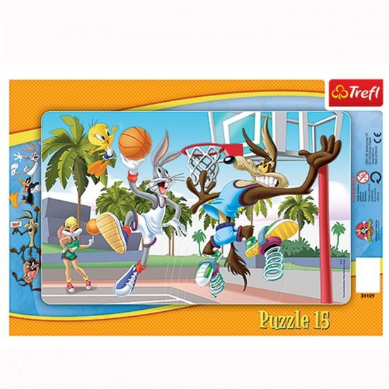Puzzle 15 pièces : Match de basket des Looney Tunes - Trefl-31109