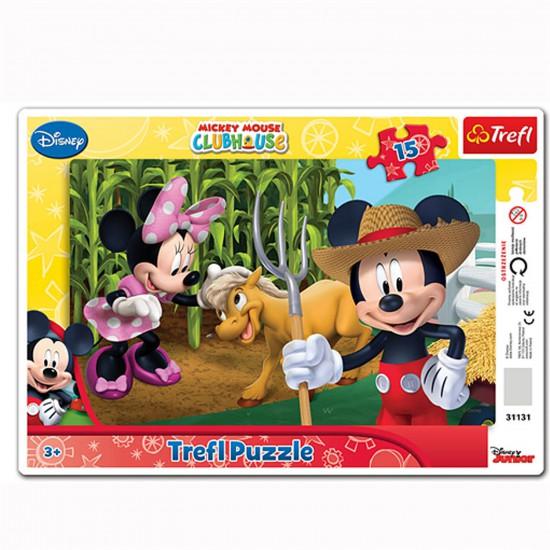 Puzzle 15 pièces : Mickey et Minnie jardinent - Trefl-31131