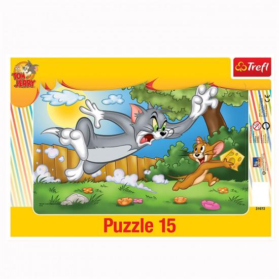 Puzzle 15 pièces : Tom et Jerry La course au fromage - Trefl-31072